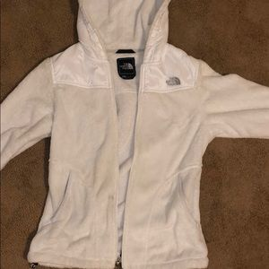 White North face fluffy jacket with hood